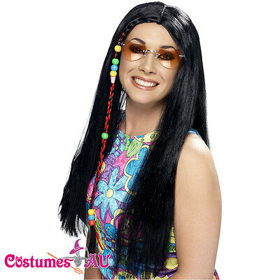 Ladies Hippy Party Wig Black Long + Coloured Beads Smiffys 60s 70s Hippie Wigs