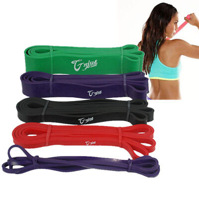 New set of 5 heavy duty resistance bands yoga loop gym fitness exercise workout