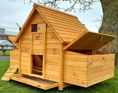 Large Chicken Coop Run Hen House Poultry Ark Home Nest Box Coup Coops