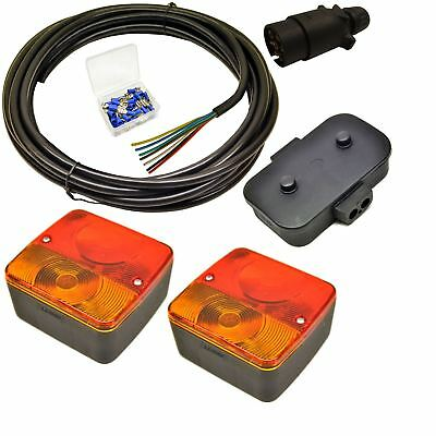 Trailer Light Wiring Kit - Small Lights, Plug, Junction Box, 5m Wire, Terminal