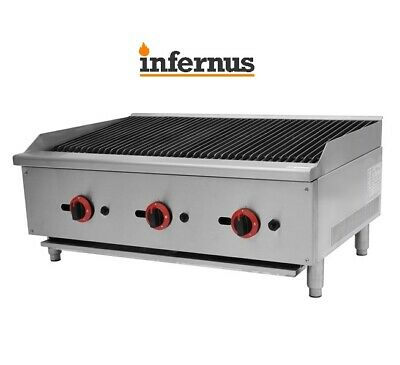 New Infernus American Style Gas Char Broiler 3 Burner Char Grill Catering 910mm