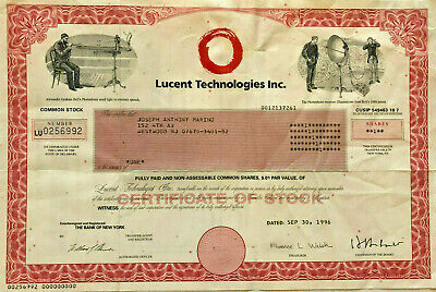 Lucent Technologies Inc.   1996 New York old stock certificate share