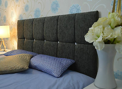 Luxury Tufted STAR Crystal Diamante Chenille Fabric Headboards Home Bedroom New