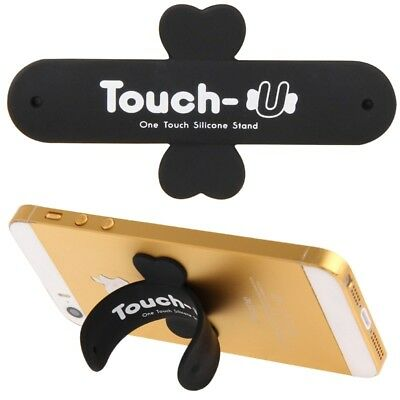TECH Black 100 PCS Touch-u One Touch Universal Silicone Stand Holder for iPhone