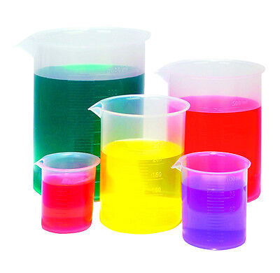 Karter Scientific Graduated Plastic Beaker Set, 50 100 250 500 1000 ml