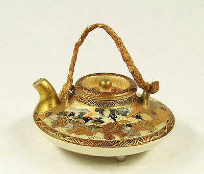 Antique  Japanese Hand Painted  Ceramic Gilded Miniature Teapot Late Meiji