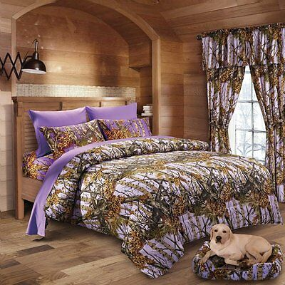 4 Pc Lavender Camo Comforter And Sheet Set Twin  Hunter Camouflage Bedding