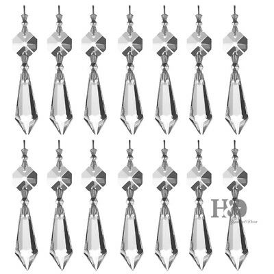 20 Clear Chandelier Glass Crystals Lamp Prisms Parts Hanging Drops Pendants 38mm