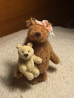 "Miniature Hand Sewn 3"" REDDISH TAN Mohair Teddy Bear W/ Mini Bear by Lori Wright"