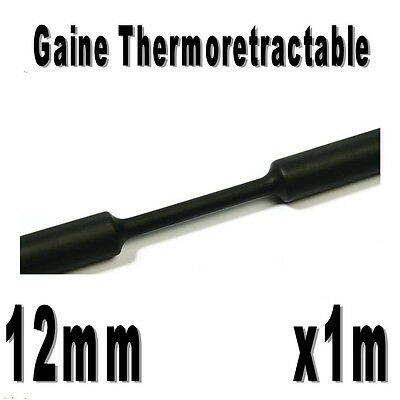 Gaine Thermo Rétractable 2:1 - Diam. 12 mm - Noir - 1m