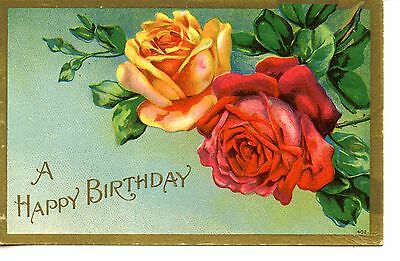 Yellow Red Rose Flowers Vintage Happy Birthday Greetings Floral Postcard