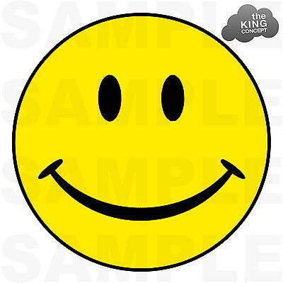 Smiley Face Iron On T-Shirt Transfer Yellow Acid House Emoticon Smily Text Happy