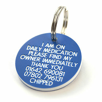 Pet Dog Cat ID Collar Tags - Deeply engraved FREE, 33mm Plastic Disc. 7 COLOURS
