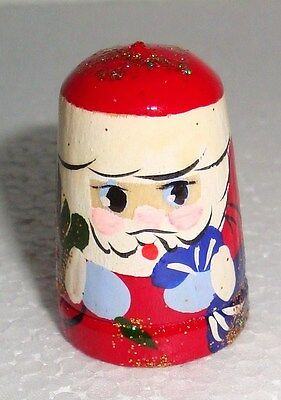 Beautiful Russian Wooden Handpainted THIMBLE ~ SANTA CLAUS ~ NEW