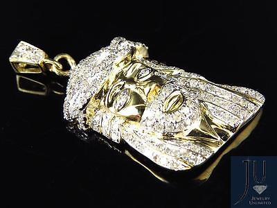 10k Yellow Gold 1.5 inch 3D Jesus Face Piece Pendant with Pave Diamond 1.0Ct