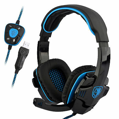 Sades WCG Gaming headset  Stereo 7.1 Surround Headband Headphone USB with mic