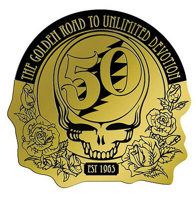 "(#34) Metallic Grateful Dead 50th Anniversary 3-3/4"" Decal (1161) Sticker ©GDP"