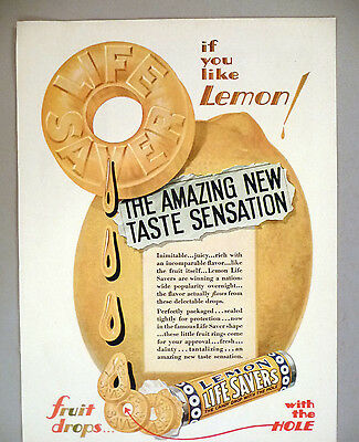 Life Savers Lemon PRINT AD  1930