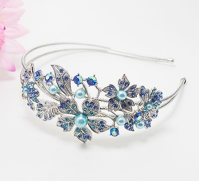 Elegant Rhinestone Crystal Rhodium Prom Bridal Wedding Tiara Flower Headband 133