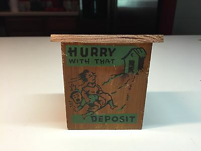 Old Vtg Hurry With That Deposit Wood Still Coin Piggy Bank Out House Wildwood NJ