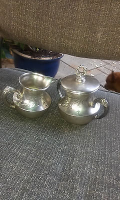 Antique New England Silver Plate Co. 212-Quadruple Sugar Bowl & Creamer