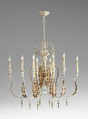 Cyan Design 05051, Motivo 8 Light Chandelier, Wood and Iron, French Vintage