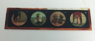 Ernst Plank Magic Lantern Glass Slide Girls In Village Antique