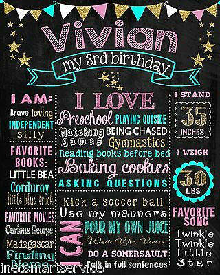 2 DAYS DELIVERY- Birthday Chalkboard sign chalk board poster first 1st 2nd  #199