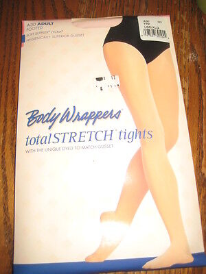New BODY WRAPPERS Women DANCE A30 THEATRICAL PINK Footed Nylon TIGHTS S/M, L/XL
