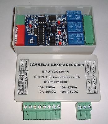 boxed 3CH dmx512 relay Controller PCB UK Stock