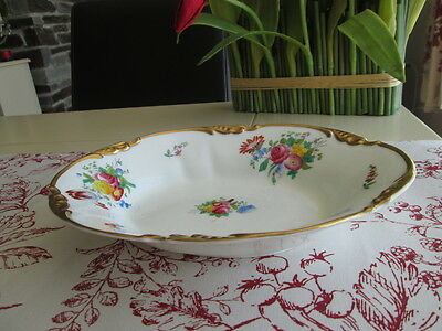 "VINTAGE GEORGE JONES & SONS CRESCENT OVAL FLORAL & GILT BOWL    10"" x  7.75"""