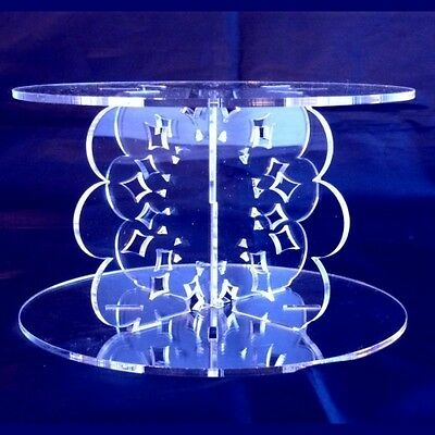 Clear Acrylic Round Doily Wedding & Party Cake Stand