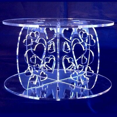 Clear Acrylic Round Hearts Wedding/Party Cake Stand Pillars, Various Sizes