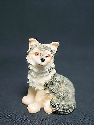 Vtg German Shepherd Collie Puppy Dog Gray Miniature Figurine UDC Stone Critter
