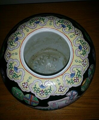 ANTIQUE 19C CHINESE POLYCHROME Patten Porcelain Pot WITH STAND 2 CHARACTERS MARK