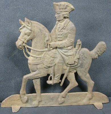 """Antique Cast Iron 8"""" Tall George Washington on Horse Stand-up Doorstop"""