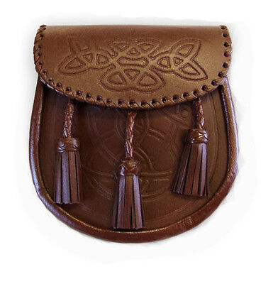 Brown Leather Embossed Leather Kilt Sporran Knotted Tassels with Sporran Chain