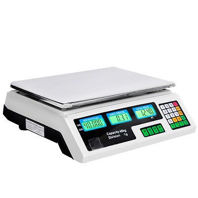 40KG Digital Kitchen Scales Electronic Weight Postal Scale White