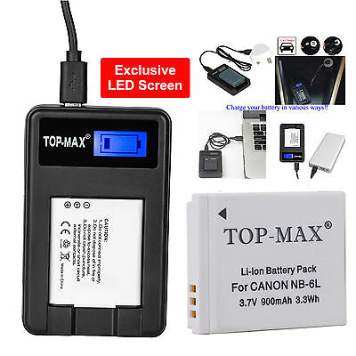 Battery + USB Charger for Canon NB-6L NB-6LH PowerShot S90 S95 IXUS 105 IS 200IS