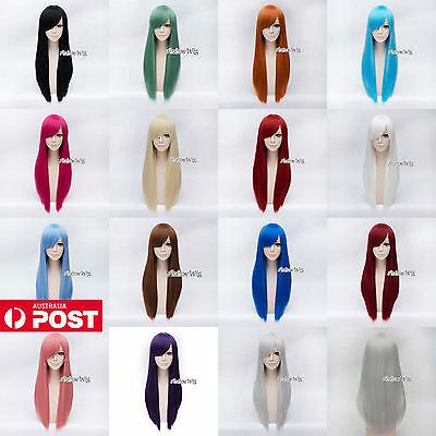 70CM Red/Grey/Blonde/Brown/Purple Long Straight Lolita Fashion Lady Cosplay Wig
