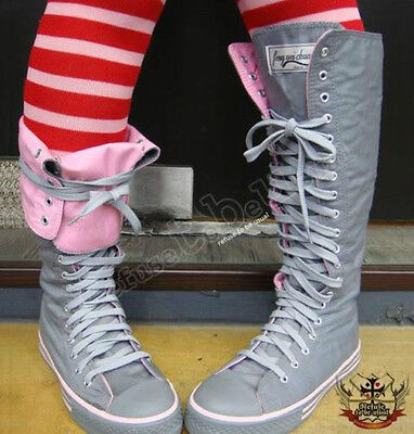 20 Hole Punk Rock Canvas Multi Color Lace up Knee Hi Gray Pink Sneaker Flat Boot