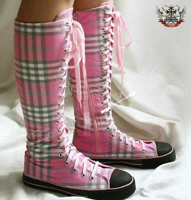 20 Hole Punk Rock Knee Hi Kawaii Decora Sneaker Boot Pink Tartan Checker Plaid