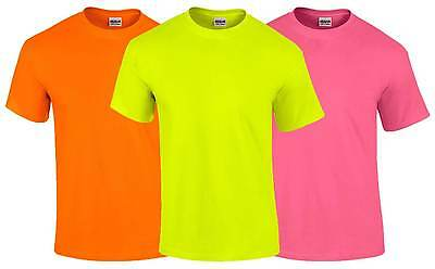 Gildan Mens Neon T-Shirt S-5XL Fluorescent Bright Party Fancy Dress 80s 80's