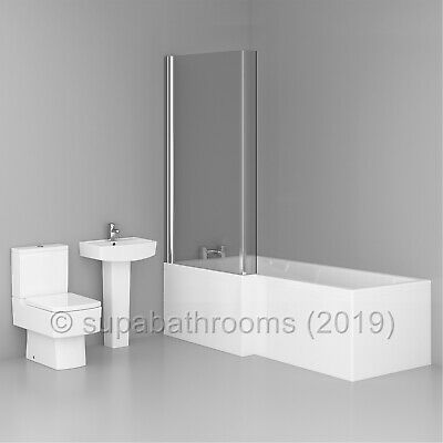 L Shaped Shower Bath 1700mm Bathroom Suite WC Toilet Wash Basin