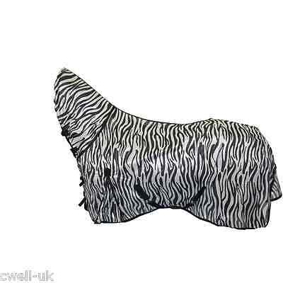 "New Bug Away Horse fly rug combo attached neck cover ZEBRA PRINT  5'6""- 7'0"""