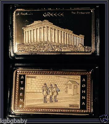 ATHENS_EVZONES / ACROPOLIS_PARTHENON - GOLD Plated collectable INGOT