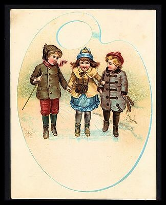 """Antique 1880 """"m.c. Beers Ranges"""" Three Sweet Little Girl Friends Trade Card"""