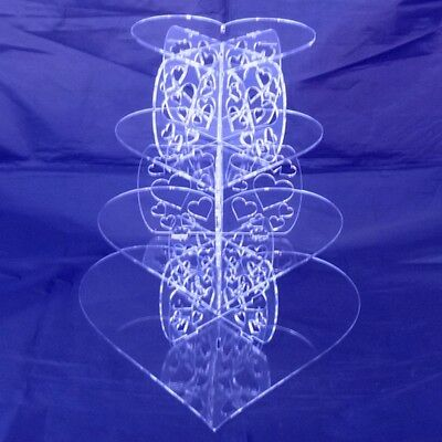 Four Tier Clear Acrylic Heart Pillars Wedding & Party Cake Stand