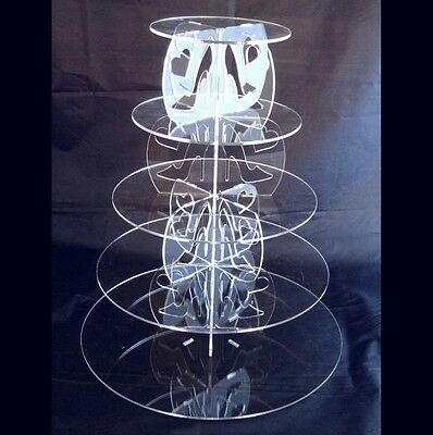 Five Tier Round Acrylic High Heels & Hearts Wedding & Party Cake Stand