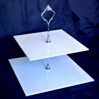 Two Tier White Square Cake Stand